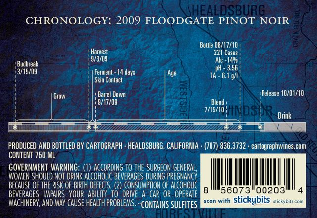 Floodgate 2009 Pinot Noir Back Label